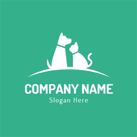 Seated White Cat and Dog logo design