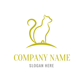 Seated Yellow Cat logo design
