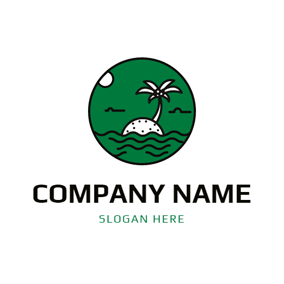 Seawater and Palm Tree logo design