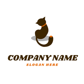 Shadow and Cute Cat logo design