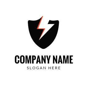 Shield and Lightning Image logo design