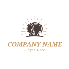 Shiny Brown Wooden Barrel logo design