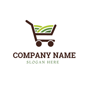 Shopping Trolley and Abstract Vegetable logo design