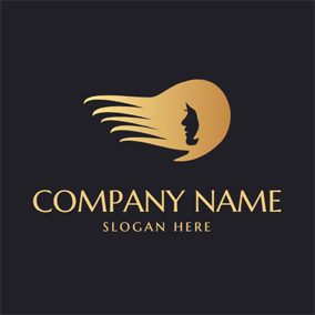 Side Face and Golden Long Hair logo design