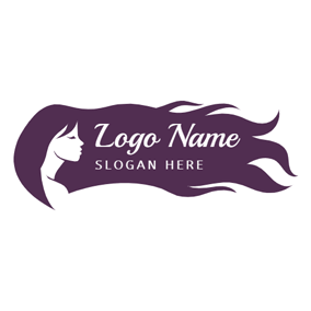 Side Face and Long Purple Hair logo design