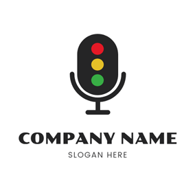 Signal Lamp and Microphone logo design