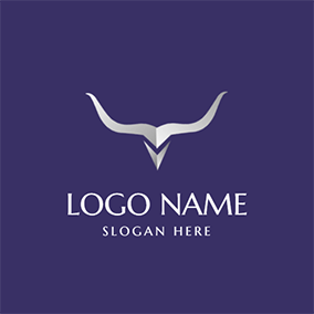 Silver Longhorn and Figure logo design