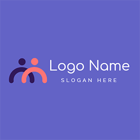 Simple Abstract Human Twins logo design