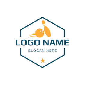 Simple Badge and Bowling logo design