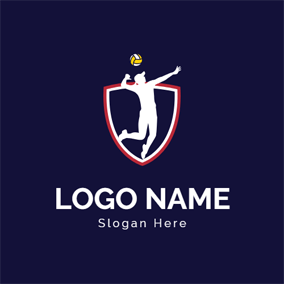 Simple Badge and Volleyball Athlete logo design