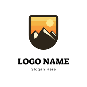 Simple Banner and Mountain logo design