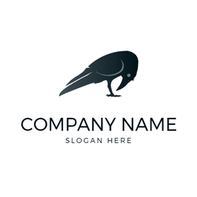 Simple Black Raven Icon logo design