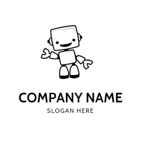 Simple Black Robot Icon logo design