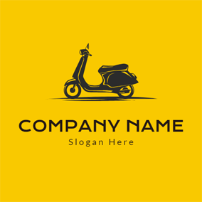 Simple Black Scooter logo design