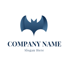 Simple Blue Bat Icon logo design