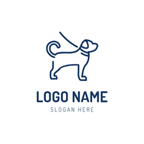 Simple Blue Dog Icon logo design