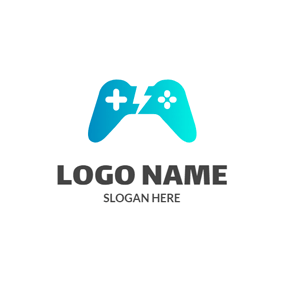 Simple Blue Game Controller logo design