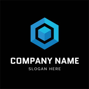 Simple Blue Hexagon and Blockchain logo design