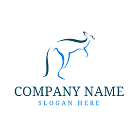 Simple Blue Kangaroo Icon logo design