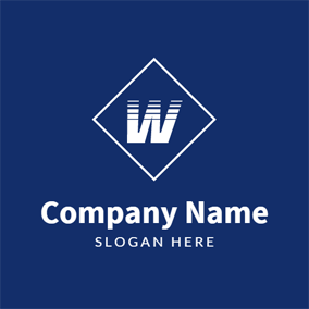 Simple Blue Letter W logo design