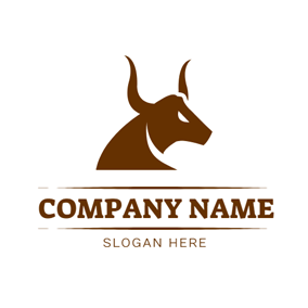 Simple Brown Buffalo Head logo design