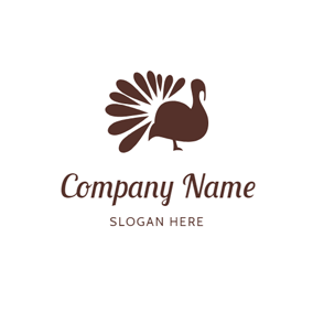 Simple Brown Turkey Outline logo design