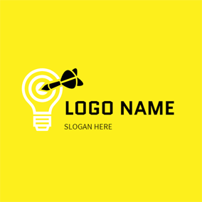Simple Bulb and Dart logo design