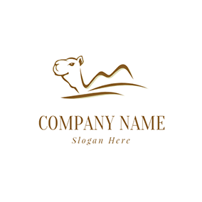 Simple Camel Line Desert logo design