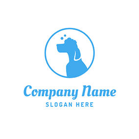 Simple Circle and Cute Dog logo design