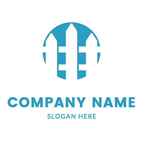 Simple Circle and Fence logo design