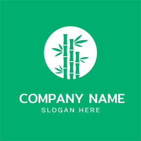 Simple Circle and Green Bamboo logo design