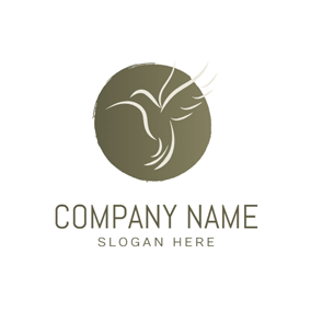 Simple Circle and Hummingbird logo design