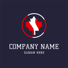 Simple Circle and Maple Leaf logo design
