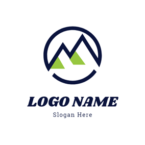 Simple Circle and Mountain logo design
