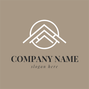 Simple Circle and Roof logo design