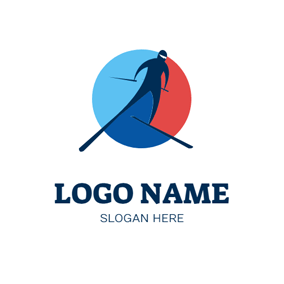 Simple Circle and Skier logo design