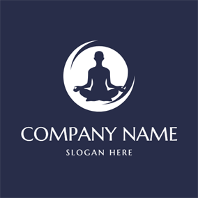 Simple Circle and Yoga Woman logo design