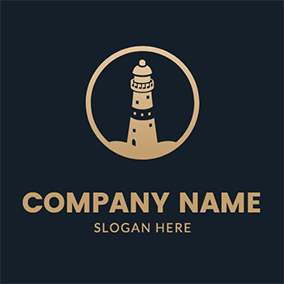Simple Circle Lighthouse Coast logo design