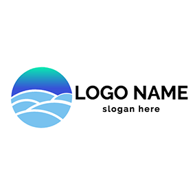 Simple Circle Sea Aurora logo design
