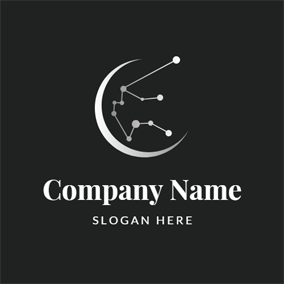 Simple Crescent and Aquarius Constellation logo design