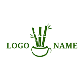 Simple Cup and Slender Bamboo logo design