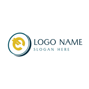 Simple Dimensional Euro Coin logo design