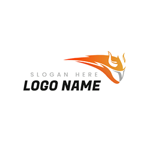 Simple Fire and Abstract Helmet logo design