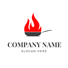 Simple Fire and Pan logo design