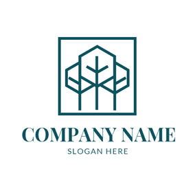 Simple Frame and Tree logo design