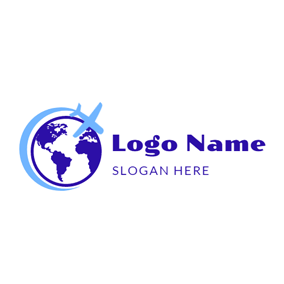 Simple Globe and Airplane logo design