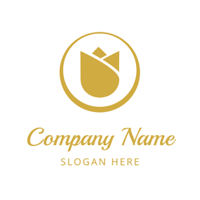 Simple Golden Blossom logo design