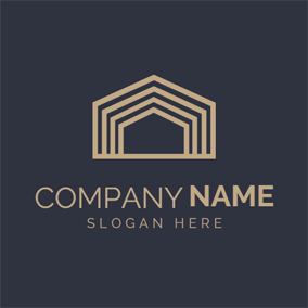 Simple Golden Construction logo design