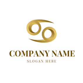 Simple Golden Pisces Sign logo design
