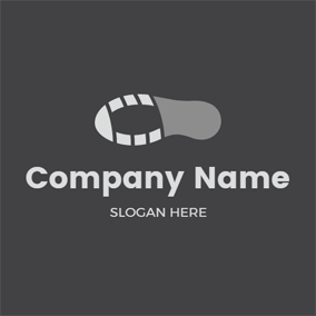Simple Gray and White Shoeprint logo design